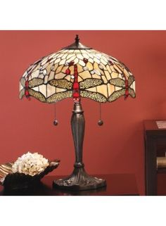 Lampe Tiffany Dragonfly Beige H.54