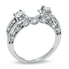 Beautiful, classic, romantic. Double stone vintage wrap.-- I love the idea of decorative bands to go with solitaire engagement rings