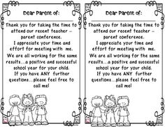 on a Page B/WA brief THANK YOU note to send to parents AFTER attending your parent teacher conference. Thank You To Parents, Notes To Parents, Letter To Parents, Parents As Teachers, Parent Teacher Conference Forms, Parent Teacher Communication, Teacher Forms, Teacher Thank You Notes, Letter To Teacher