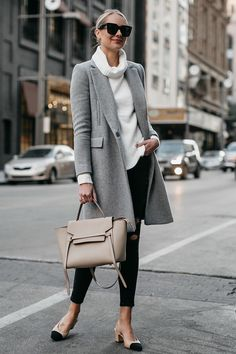 Blonde Woman Wearing Grey Wool Coat White Turtleneck Sweater Celine Mini Belt Bag Black Ripped Skinny Jeans Chanel Slingbacks Fashion Jackson Dallas Blogger Street Style