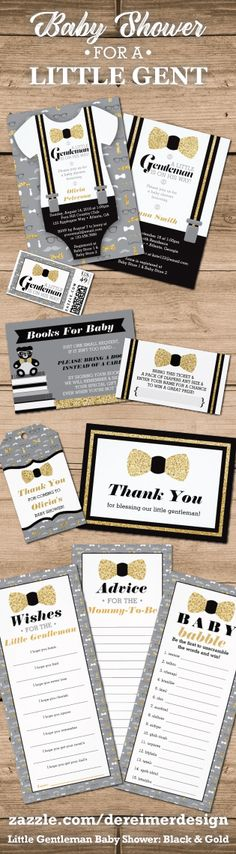 Little Gentleman Baby Shower Invitation in Black and Gold, Little Man Collection, Oh Boy Baby Shower