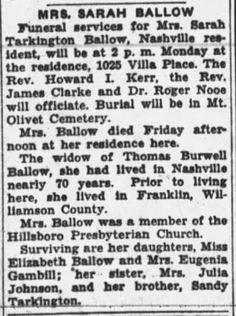 So Many Ancestors!: Sunday's Obituary: Sarah Jane (Tarkington) Ballow #genealogy