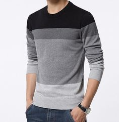 84 best my boo style images  fashion brand casual style o neck black gray striped slim fit men\u0027s pullover