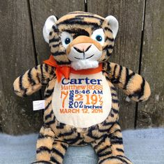 Personalized Baby Gift Monogrammed Tiger by WorldClassEmbroidery, $41.99