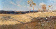 Golden Summer, Eaglemont (1889) oil-on-canvas, 81.3 cm (h) x 152.6 cm (w), by Arthur Streeton (1867–1943)
