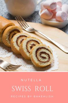 This fluffy cake roll is wrapped with creamy Nutella and taste absolutely divine. Nutella Swiss Roll is an easy, delicious cake recipe you must try. Roll Cake Recipe Vanilla, Cake Roll Recipes, Delicious Cake Recipes, Peanut Butter Cookie Recipe, Best Dessert Recipes, Yummy Cakes, Sweet Recipes, Delicious Food, Bread Recipes