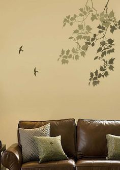 Ideas For Living Room Designs With Brown Leather Sofa Stencil Wall ArtStencils