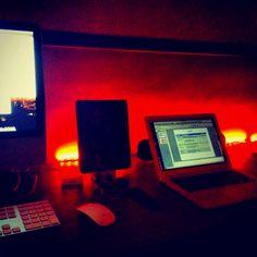 My desktop setup. Ambient lights definitely takes it up.