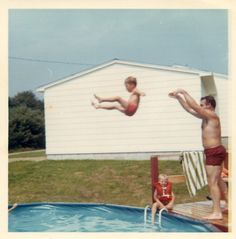 1960s Dad throws kid into aboveground swimming pool VINTAGE PHOTO by Christian Montone, via Flickr