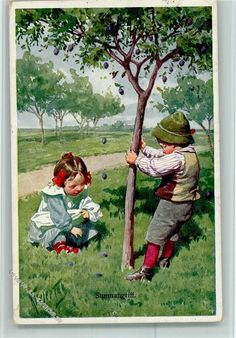 karl feiertag | BKW Serie 195-1 Pflaumen vom Baum schütteln: Ansichtskarten-Center ...