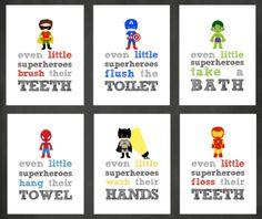 PRINTABLE Superhero Bathroom Wall Art Decor Personal Hygiene Reminders Super Hero Rules Kids