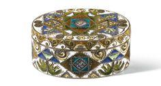 Fabergé silver-gilt and cloisonné enamel box, probably Feodor Rückert, Moscow, 1908-1917