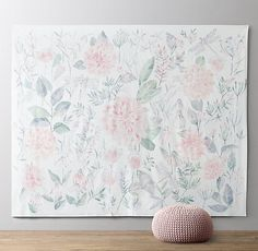 Flowers in full bloom, delicate foliage and a trio of fluttering dragonflies grace our grandly sized wall tapestry.