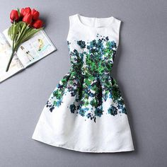 dress, sukienka, flowers, kwiaty