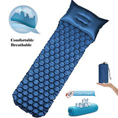 Inflatable Sleeping Mat with Pillow Lightweight Camping Mattress Pad Moisturepro Camping And Hiking, Tent Camping, Outdoor Camping, Backpacking, Camping Pillows, Camping Mattress, Air Mattress, Camping Equipment Rental, Hiking