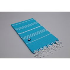 @Overstock.com - This soft and extremely absorbent Pestamel Fouta towel wrap is made from natural cotton hand-woven on ancient looms in Turkey and includes a bonus good luck evil eye amulet charm. The herringbone weave Fouta towel is lightweight and generously sized.http://www.overstock.com/Bedding-Bath/Authentic-Fouta-Turquoise-Blue-Turkish-Cotton-Towel/7183250/product.html?CID=214117 $31.95