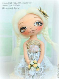 """Купить Малышка """"Кремовый жемчуг"""" - кукла, бежевый, коллекционная кукла, кукла ручной работы"""