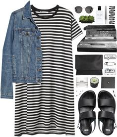 Striped dress denim jacket with black shoes and a top knot