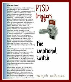 C PTSD triggers explained by Pete Walker, trauma therapist and author-there is hope. I recovered from PTSD by Penny Hollick author My Naked Face Ptsd Awareness, Mental Health Awareness, Infp, Introvert, Ptsd Quotes, Ptsd Recovery, Recovery Tools, Recovery Quotes, Trauma Therapy