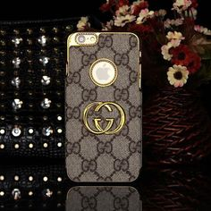 GUCCI iPhone 6 Case with Apple Logo Hole Brown