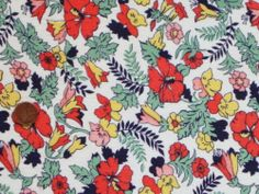 VINTAGE FEEDSACK FABRIC ~ Bright Red Yellow Navy Pink Flowers Cotton Flour Sack