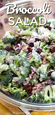 Broccoli salad is the fun summer salad recipe that you didn't know you were missing! Fresh and colorful broccoli, dried cranberries, sunflower seeds, and bacon bits are tossed in a creamy homemade dressing to give you a dish that will be raved about by ev Side Dish Recipes, New Recipes, Cooking Recipes, Healthy Recipes, Greek Recipes, Delicious Recipes, Summer Salad Recipes, Summer Salads, Summer Bbq