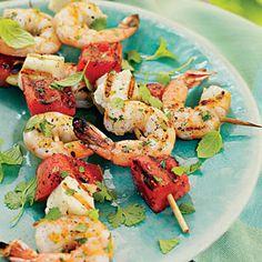 Shrimp, Watermelon, and Halloumi Kabobs | MyRecipes.com