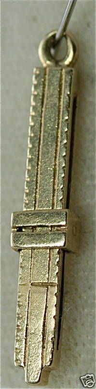 VINTAGE 14K GOLD SLIDE RULE CHARM