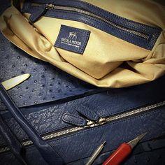 Workinprogress on a brand new genuine ostrich leather bag http://ift.tt/1gcdIV4 Nicola Meyer creations #ostrichbag #ostrichleatherbag #ostrichleather #ostrichphonecase #fattoamano