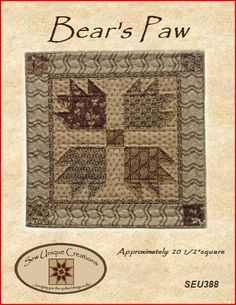 Bears Paw Quilt Pattern PDF Reproduction by SewUniqueCreations.  Quick and…