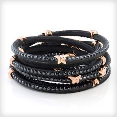 e5f0ed336 Tomasz Donocik Rising Star Leather Wrap bracelet Swarovski set with Rose  Gold vermeil http:/