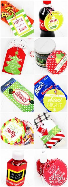 Quick and Easy Christmas Gifts or darling stocking stuffers!!  (Love the coordinating printable Christmas gift tags!)