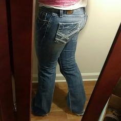 Bke jeans Bke jeans size 30 but fit like a 28. 31.5 inch inseam and are Stella. I am only saying they run 2 sizes small because they are so low-rise and I have big hips but probably between a 28 and 29. These have fray at the bottom but are just gorgeous. Nice distressed look. 99% cotton 1% spandex BKE Jeans Boot Cut