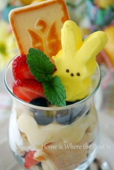 Easter Peeps Parfait~  Layered blend of lemon curd and reduced fat cream cheese with crumbled Pepperidge Farm Chessmen cookies, whipped cream & berries.  You could substitute pudding and use any cookie, angel food or pound cake for a Peeps Pudding Parfait  :)