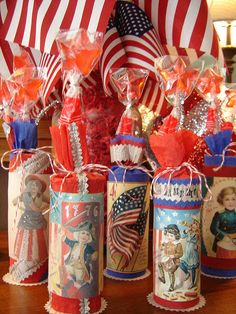 of July Fire Crackers of July firecrackers - filled with star lollipops, red & blue wrapped chocolates, red-white-blue jelly beans. Fourth Of July Cakes, Fourth Of July Decor, 4th Of July Celebration, 4th Of July Decorations, 4th Of July Party, July 4th, Holiday Decorations, Patriotic Crafts, Patriotic Party
