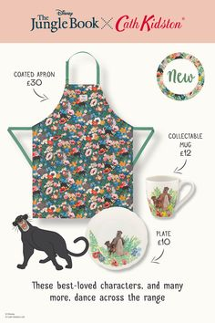 Forget about worries, strife and kitchen splashes and spills with this apron from the Jungle Book x Cath Kidston collection. Made from bold and beautiful Jungle Flowers cotton, the apron has a practical water-repellent coating for added protection. Cute Kitchen, Kitchen Stuff, Cath Kidston Disney, Jungle Boogie, Jungle Flowers, Old Disney, Matching Set, Flower Designs, Safari