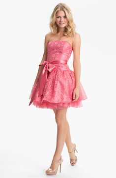 Strapless lace and tulle - so cute!  Love the pink! $115 #prom