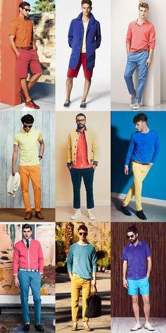 Men's 2014 Spring/Summer Fashion Trend: Colour Segmentation with Bright & Bold Lookbook Inspiration
