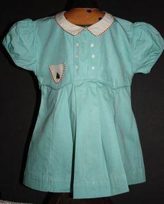 Aqua Blue Pleated Toddler Dress 1950s