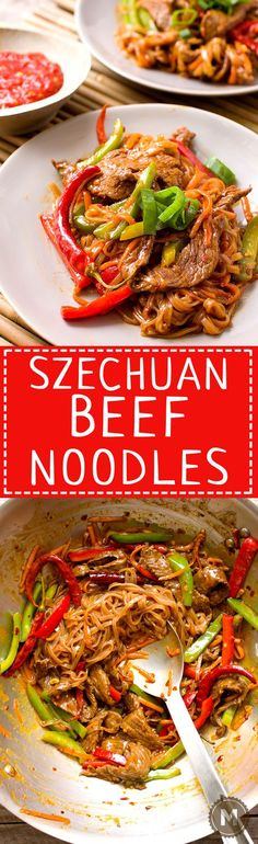 Szechuan Beef Noodles: This fiery recipe is a riff on the classic Chinese dish, Szechuan Beef. Same flavors, but turned into more of a noodle bowl situation. Addictively spicy and ready in 30 minutes! | Macheesmo