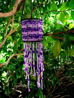 Purple Seed Beads Beaded Hanging Candle Holder