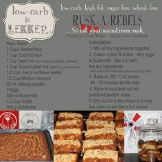 Banting Rusks Low-carb is lekker keto pescatarian recipes; Sweet Recipes, Real Food Recipes, Cooking Recipes, Cooking Kids, Cooking 101, Quick Recipes, Low Carb Bread, Low Carb Keto, Low Carb Desserts