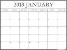10 Best January 2019 Calendar Printable Images On Pinterest