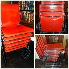 One of my best trash day finds ever - 6 stacking chairs - red saddle leather with corset back on polished chrome bases.  Turns out they are designed by Hiroyuki Toyoda and retail new for $1400 per chair!