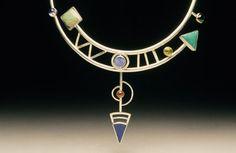 Yumi Ueno Art Jewelry & Metal : Jewelry Gallery : Necklace. Australian boulder opal, Chinese turquois, Tourmaline, Garnet, Lapis lazuli, 22KG, S.S.