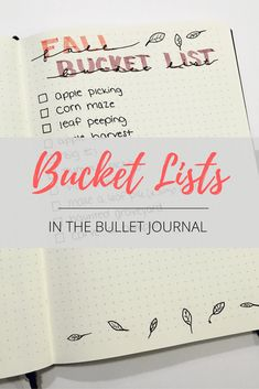 Bucket Lists in the Bullet Journal