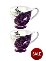 Peony Purple Footed Mugs - Purple (set of 2)