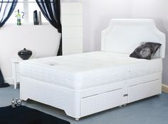 6ft Hilton Pocket Luxury Divan Set - £864.95 - The hand nested pocked springs provide outstanding support with the sumptious fillings providing a beautiful and comfortable feel. The super soft knitted damask fabric on the mattress has pure silk woven into the thead giving a silky smooth touch. A very deep medium/soft mattress of superb quality. the bases are 100% timber frames made to high standards and upholstered in matching high quality damask fabrics.