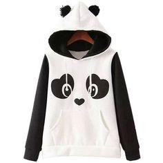 Lovely Panda Color Block Kangaroo Pocket Hoodie (540 CZK) ❤ liked on Polyvore featuring tops, hoodies, colourblock hoodie, long hoodies, color block hoodie, long tops and panda hoodie