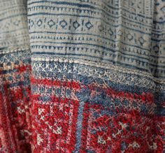Hmong handwoven tribal hemp indigo blue